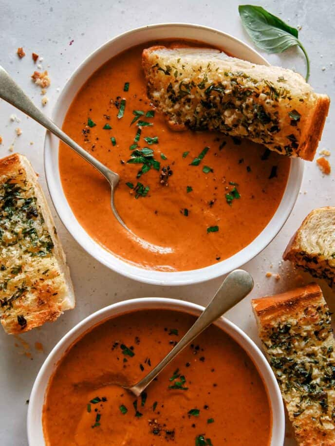 Tomato soup with bread dipped in.