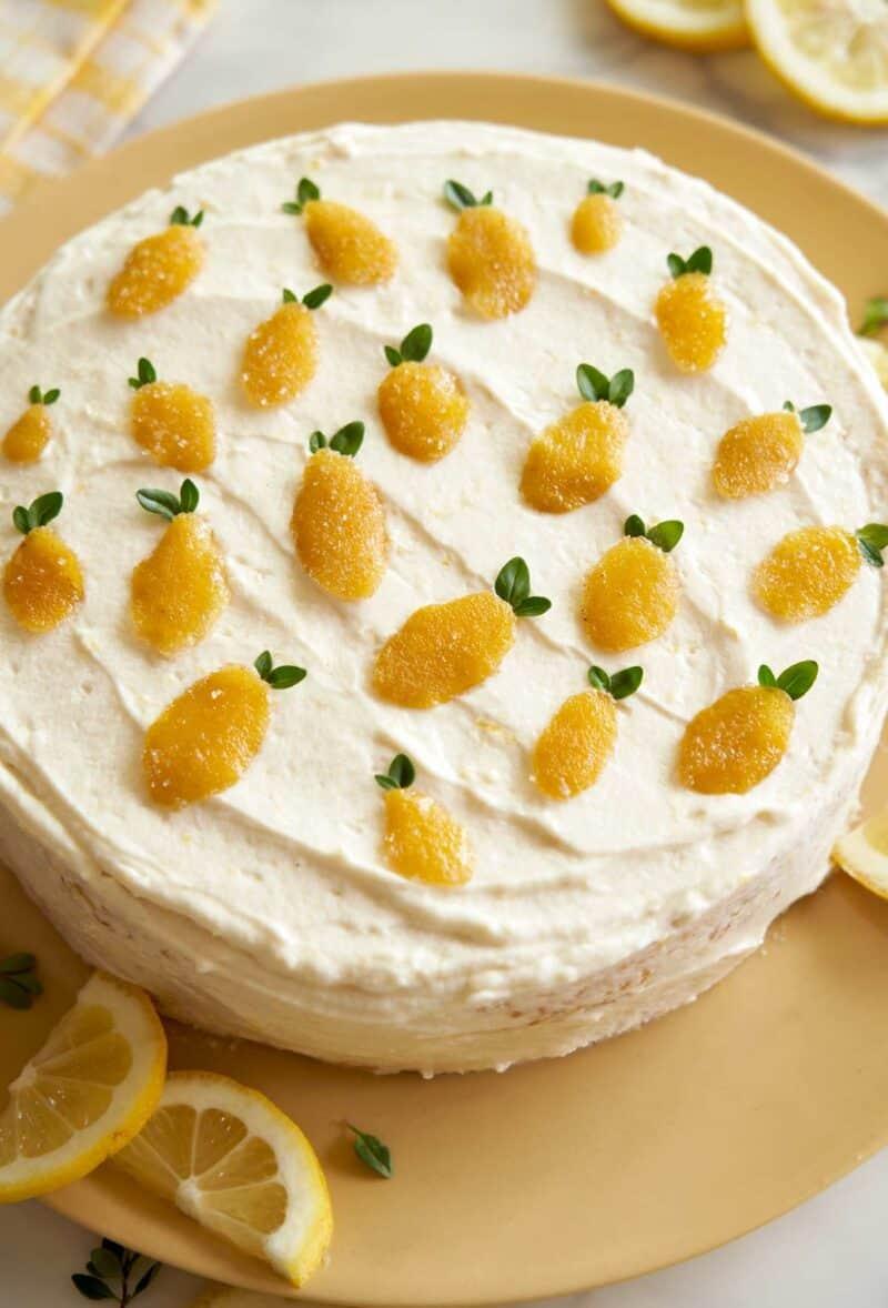 Close up of whole lemon thyme cake garnished with lemon slices.