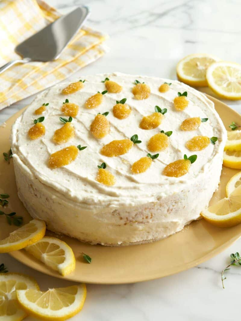 Lemon layer cake recipe with a hint of thyme.